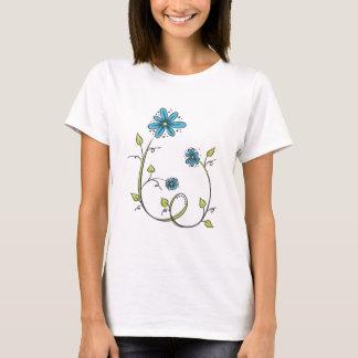 Camiseta Flor azul do Doodle