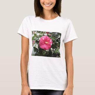 Camiseta Flor branca manchada vermelho da camélia Marmorata