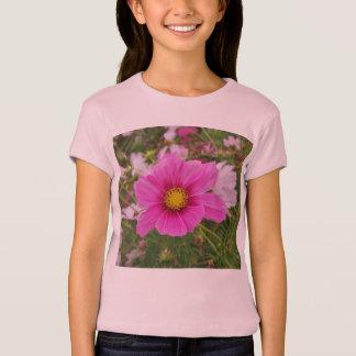 Camiseta Flor cor-de-rosa bonito do cosmos