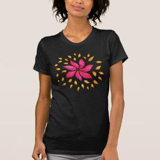 Camiseta Flor lunática abstrata do rosa da aguarela