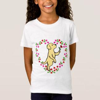 Camiseta Flor minúscula amarela do coração de Labrador