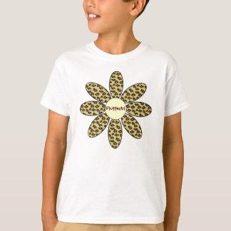 Camiseta Flor personalizada do impressão do leopardo