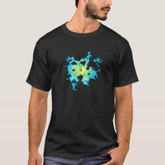 Camiseta Flor verde e azul do respingo