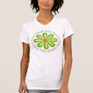 Camiseta Flor verde retro dos t-shirt da parteira da