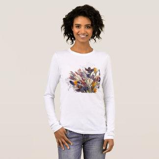 Camiseta floral da luva longa da mulher