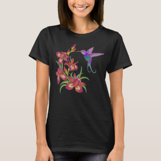 Camiseta Flores bordadas do colibri e da íris