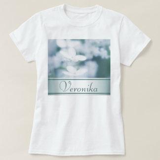 Camiseta Flores brancas bonitas do hydrangea. Adicione o