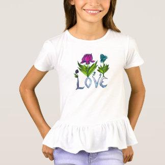 Camiseta Flores do amor - o T Ruffled das meninas