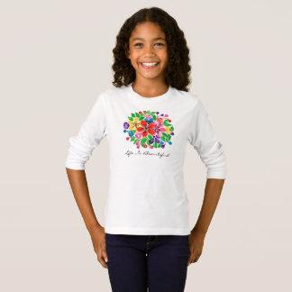 Camiseta Flores do arco-íris da aguarela