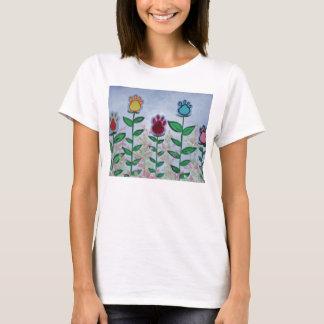 Camiseta Flores do impressão da pata