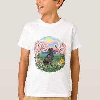 Camiseta Flores - Labrador preto