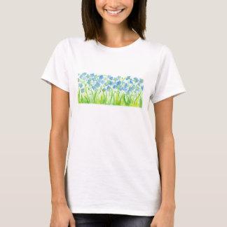 Camiseta Flores Pastel azuis da aguarela do linho