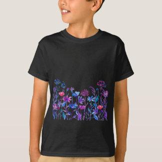Camiseta Flores roxas do campo da aguarela