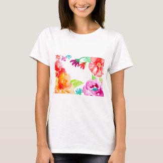 Camiseta Flores vermelhas da aguarela e alaranjadas