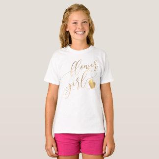 Camiseta Florista de PixDezines/ouro Calligraph moderno do