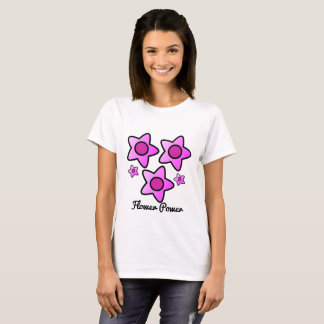 Camiseta Flower power… eu tenho a flor do poder no rosa