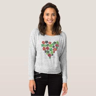 Camiseta Flowy fora da parte superior cor-de-rosa floral do