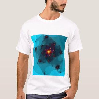 Camiseta Fogo do gelo. Azul do Fractal art.