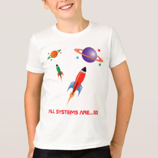 Camiseta Foguetes de espaço coloridos legal