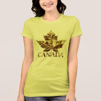 Camiseta Folha de bordo do ouro do t-shirt da lembrança do