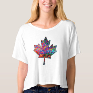 Camiseta Folha de bordo e sombra de Canadá do mosaico do