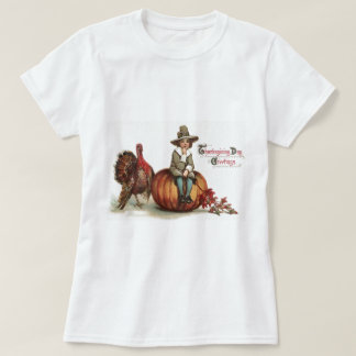 Camiseta Folhas bonitos da queda da abóbora de Turquia do