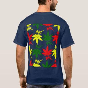 da1591047 Camiseta Folhas da erva daninha de Rasta impressas sobre