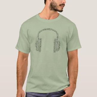 Camiseta Fones de ouvido da nota da música