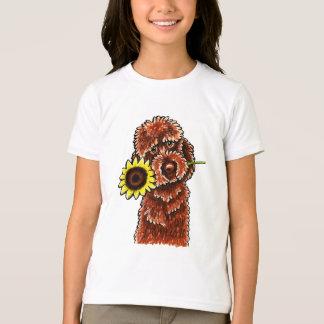 Camiseta Fora-Trela ensolarada Art™ de Labradoodle do