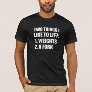 Camiseta Forquilha de dois pesos do elevador das coisas