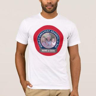 Camiseta Foto do vovô do pai do mundo azul branco vermelho