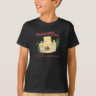 Camiseta Fotógrafo no design da câmera do vintage do dever