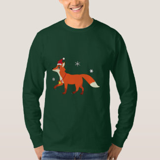 Camiseta Fox do Natal com papai noel chapéu e flocos de