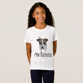 Camiseta Fox Terrier com logotipo, t-shirt do branco das