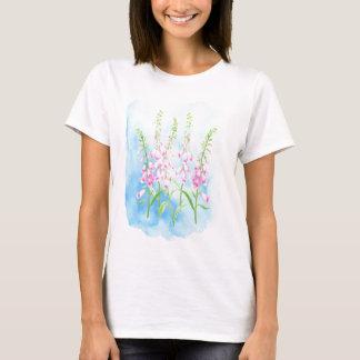 Camiseta Foxgloves cor-de-rosa da aguarela