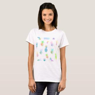 Camiseta Fruta feliz tropical dos abacaxis do t-shirt dos