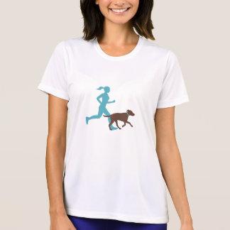 Camiseta Funcionar com cão (aqua/choc)