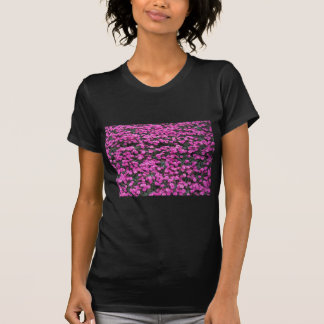 Camiseta Fundo natural de flores roxas do cravo
