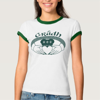 Camiseta Gaélico de Gradh do amor do anel de Claddagh no