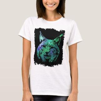 Camiseta Galáxia verde roxa artística do lince | do espaço