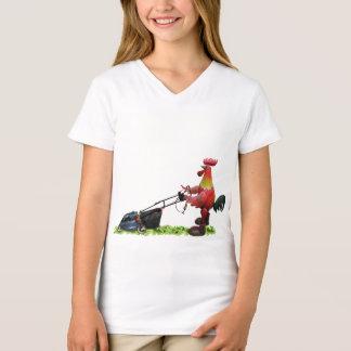 Camiseta Galo vermelho com um lawnmower que veste botas do