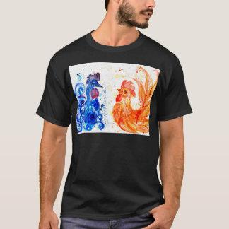 Camiseta Galos alaranjados e azuis