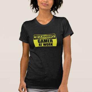 Camiseta Gamer do sinal de aviso no trabalho engraçado