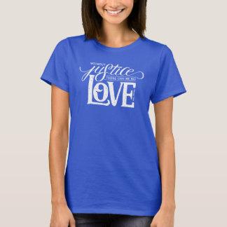 Camiseta ganchos do sino sem o t-shirt azul cabido justiça
