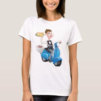 Camiseta Garçom dos desenhos animados no Moped do patinete