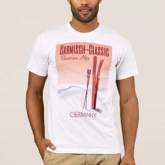 Camiseta Garmisch clássico, poster bávaro do esqui dos