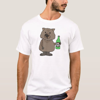 Camiseta Garrafa engraçada do bebendo de Wombat de desenhos