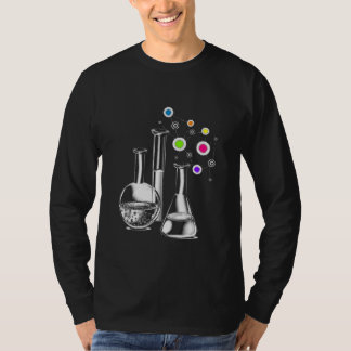 Camiseta Garrafas da química na luva longa básica dos