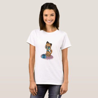 Camiseta Gatinho bonito macio brincalhão adorável com olhos
