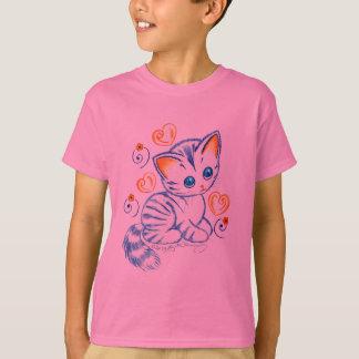 Camiseta Gatinho com corações & redemoinhos